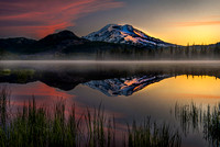 Sunrise on South Sister Mt. as viewed from Sparks Lake, Oregon.