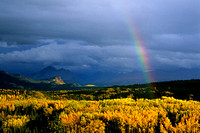 The perfect rainbow over the valley near the entrance to Denali National Park, Alaska.