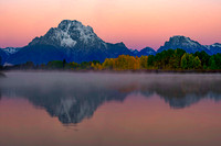 Dawn on Moran Mountain as viewed from Oxbow Bend, Grand Teton National Park